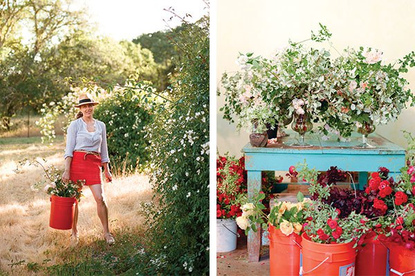 Left: Always at home in an abundant garden, floral designer Ariella Chezar leads the flower harvest each morning. | Right: A cluster of completed centerpieces and buckets of the garden spoils fill the workshop workroom.
