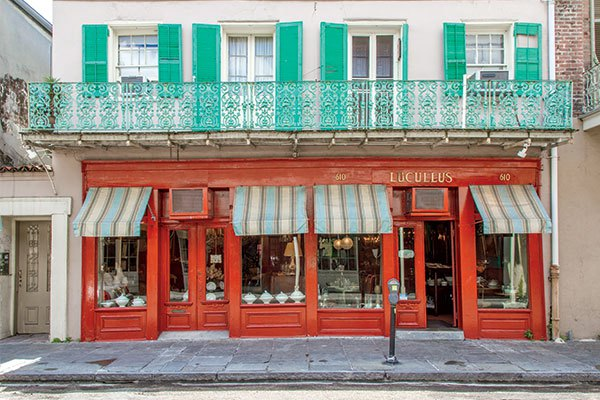 The exterior Dunne's brightly-colored New Orleans shop, Lucullus. When shoppers step inside, they couldn't be blamed for thinking they'd landed in the heart of France. | Photo by Stephen Young