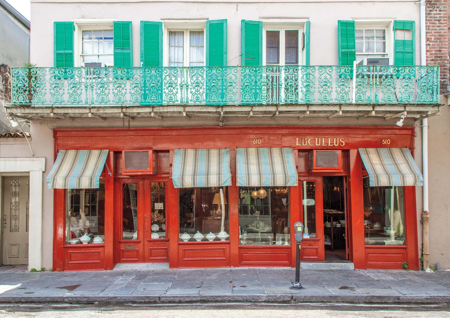 storefront of Lucullus culinary antiques shop in New Orleans