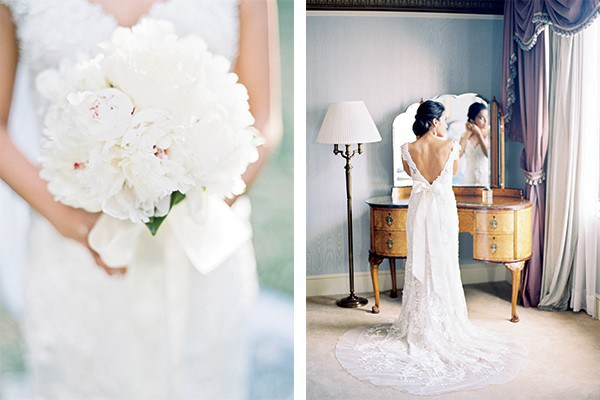 The bride's full bouquet of frothy white peonies complemented her elegant lace gown and sash tied in a traditional bow.