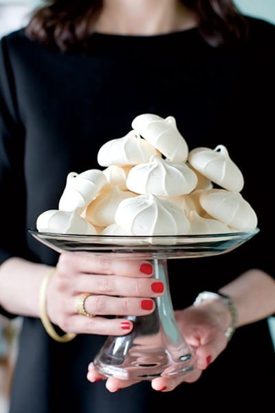 """""""I always provide a bite of something sweet such as meringues or macarons. They're usually storebought because I think that's easy to do with dessert,"""" says Boles"""