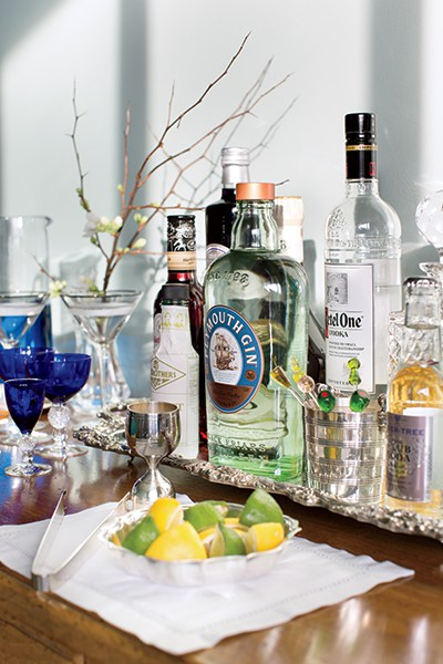 """When it comes to setting up the bar, she follows Dorothy Draper's maxim, """"Good liquor is not cheap. Cheap liquor is not good."""""""