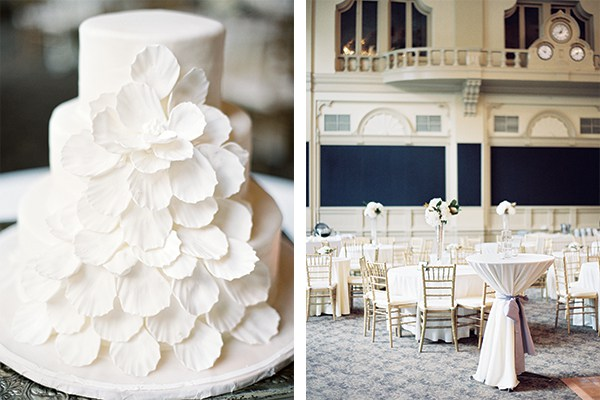 "LEFT: ""I love the simplicity and elegance,"" says the bride of her cake made by Swiss Confectionery, a New Orleans institution. RIGHT: Looking for a historical venue with a lot of character, the bride selected the New Orleans Board of Trade for the reception."