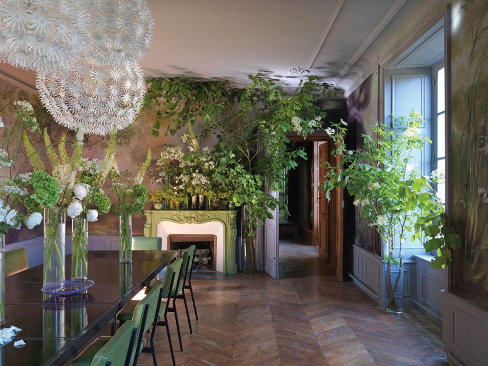 Artist Claire Basler's dining room at Château de Beauvoir