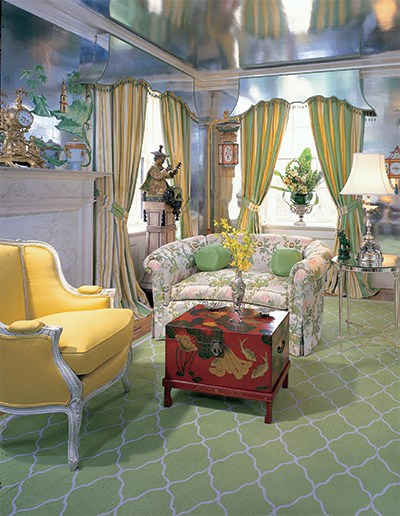 A shimmering sitting room by Richard Ridge and Roderick Denault. Photo courtesy of The Kips Bay Boys and Girls Archive, Forty Years of Fabulous: The Kips Bay Decorator Show House by Steven Stolman, Gibbs Smith 2015