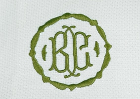 Two-Letter Monogrammed Napkin with olive green embroidery