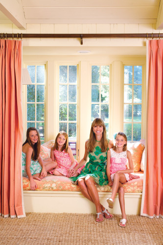 Chesie Breen and her daughters Virginia, Eliza, and Margaret Ivy pause for a Mother's Day photograph in the living room.
