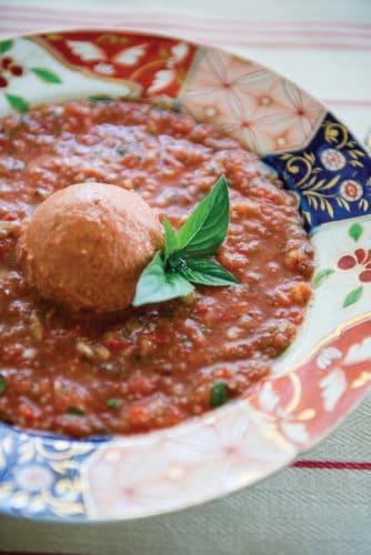 Gazpacho with tomato sorbet