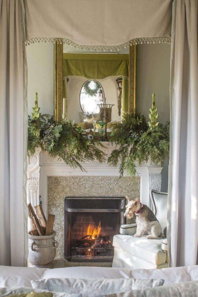 elway hall, wire fox terrior, evergreen mantel