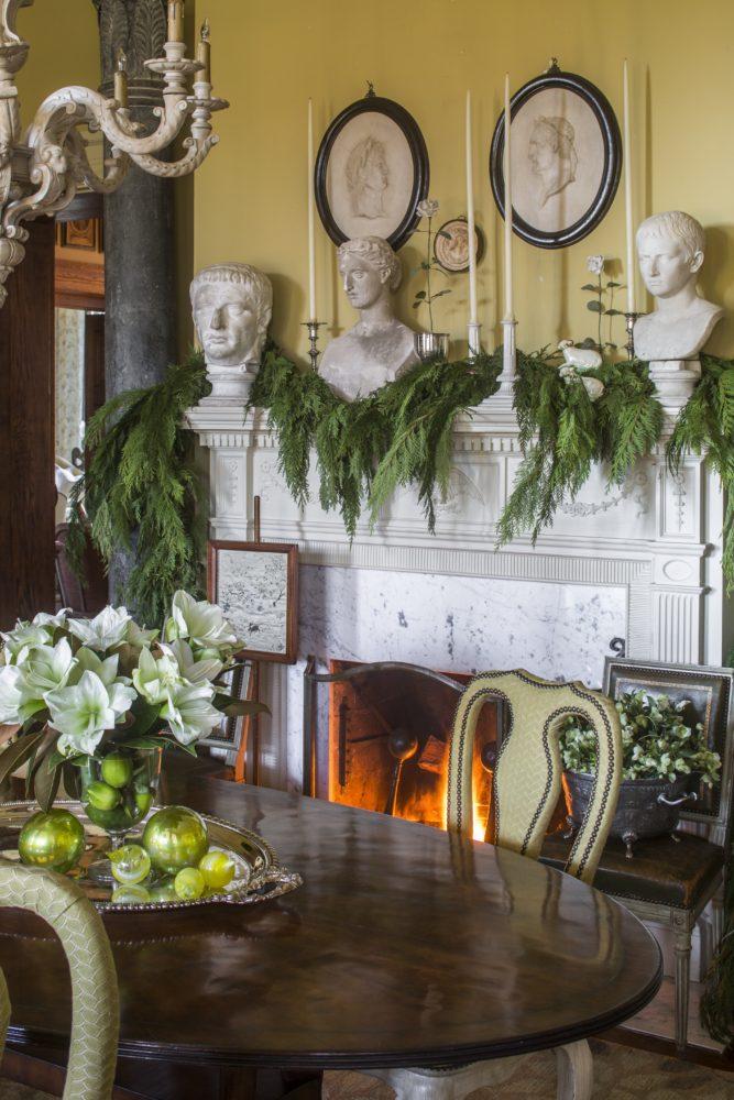 holiday mantel, white amaryllis and lime centerpiece