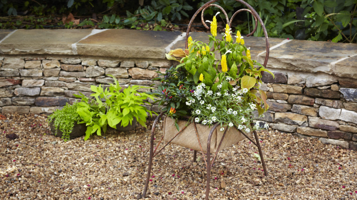 recycled chair planter