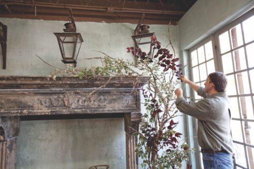 mantel flower arrangement, johnathan andrew sage