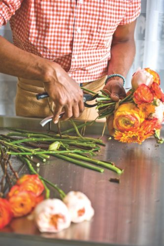 cutting hand tied arrangement
