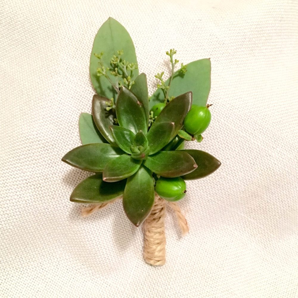 How to make a boutonniere, succulent boutonniere