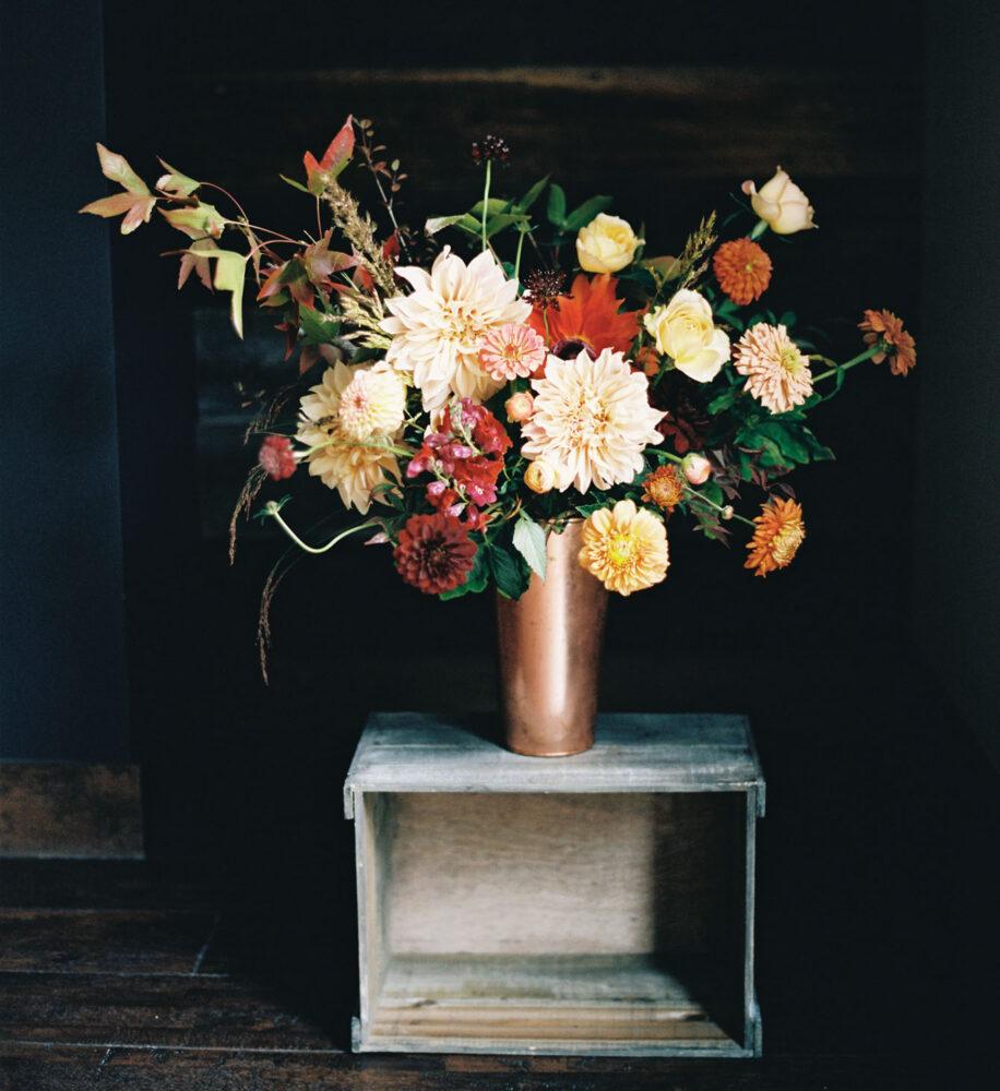 dahlia arrangement in copper vaseby floral designer Frances Harjeet Grace