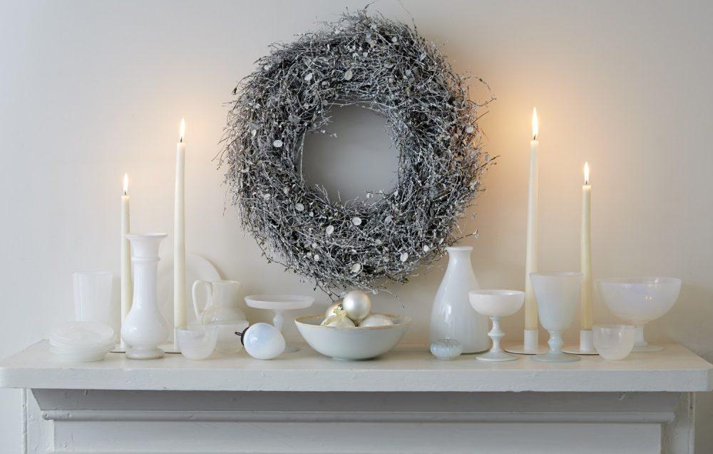 silver wreath, white christmas decor, tricia foley