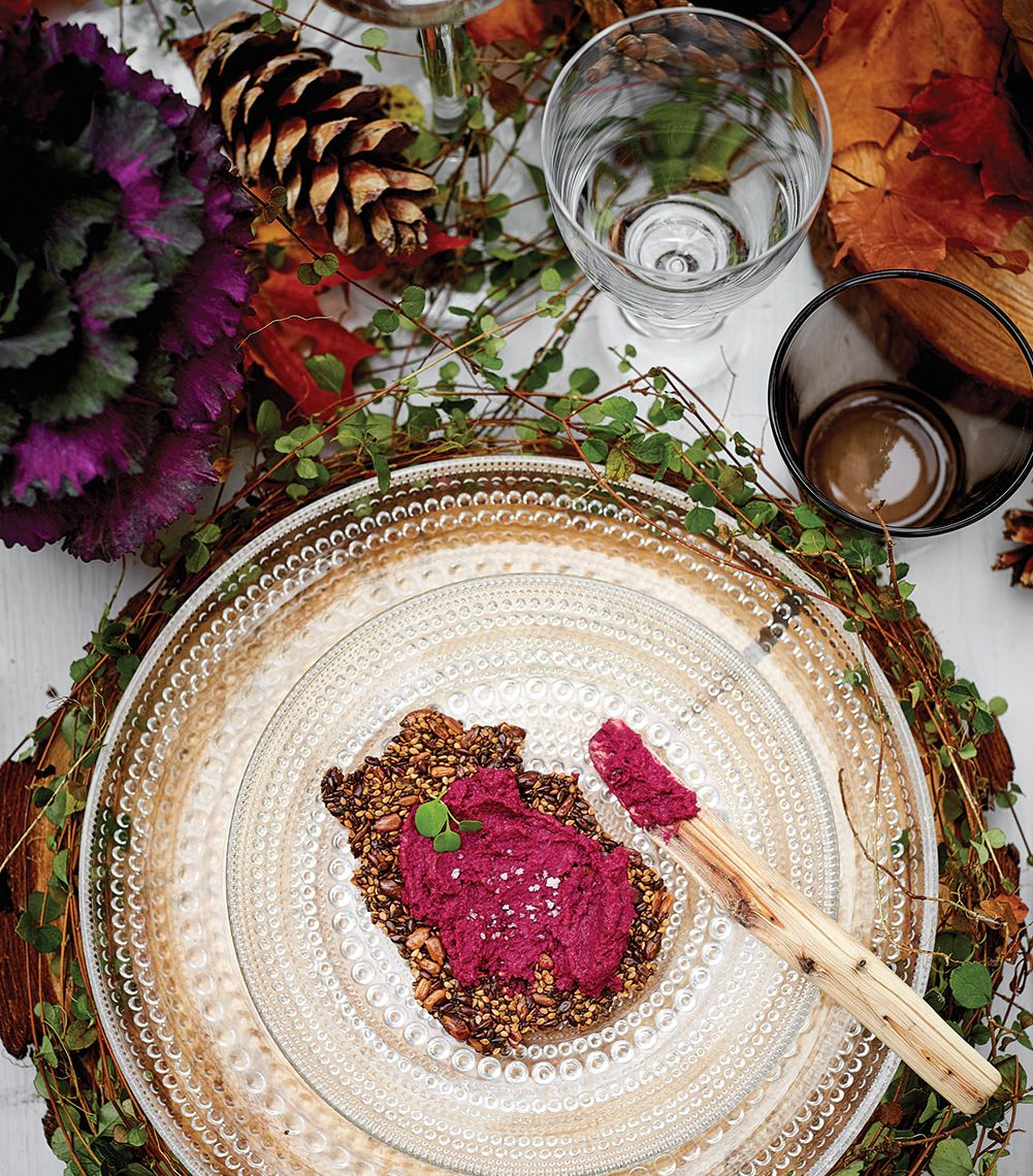 Gluten-Free Multiseed Crispbread topped with ruby red beet hummus