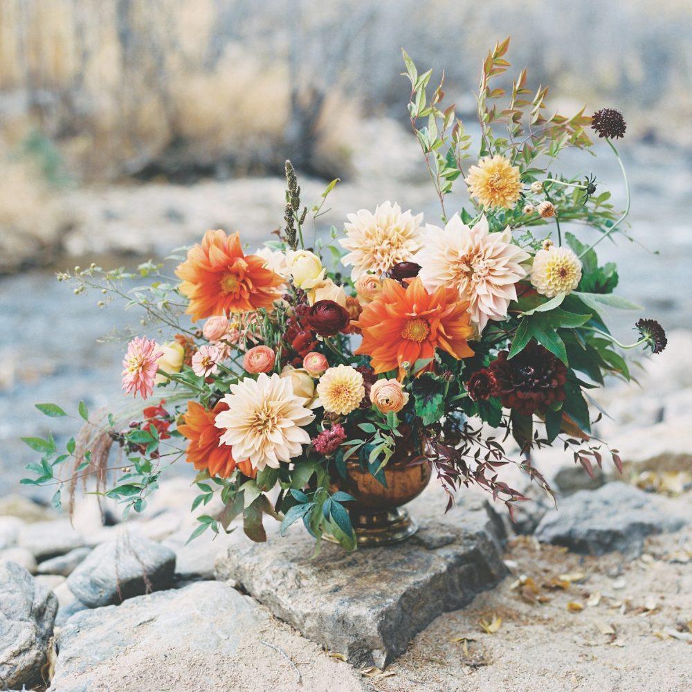 Dahlia arrangement by Frances Harjeet Grace, a Denver, CO florist