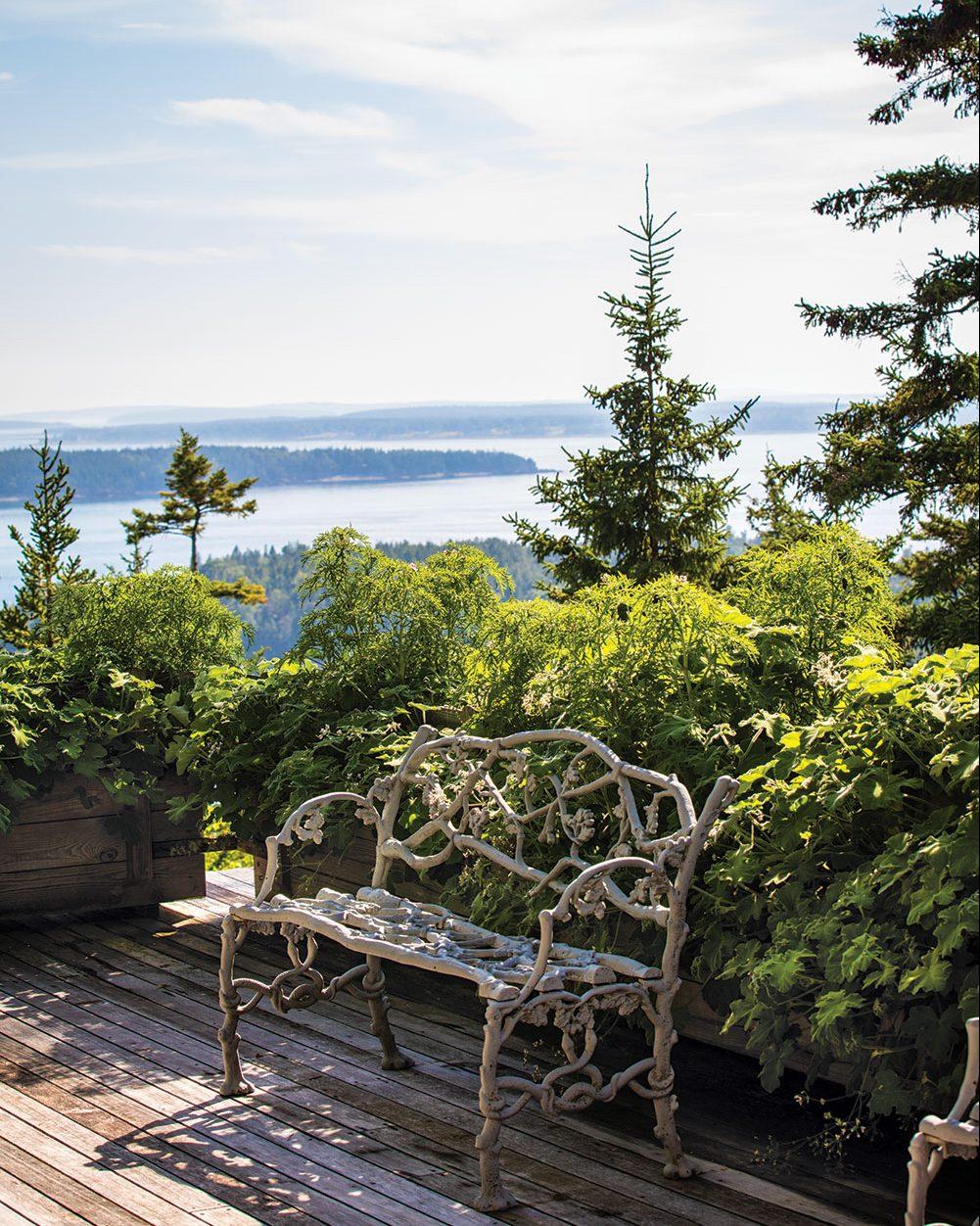 faux bois bench, vista