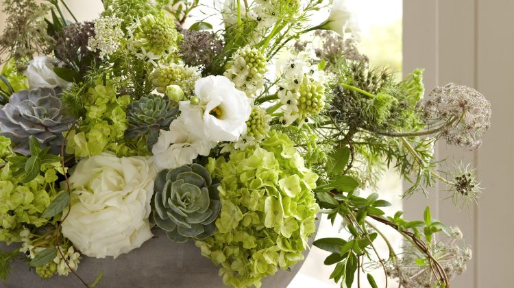 green flower arrangements