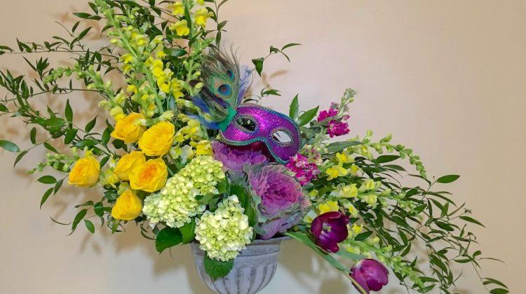 mardi gras flowers, how to arrange mardi gras flowers