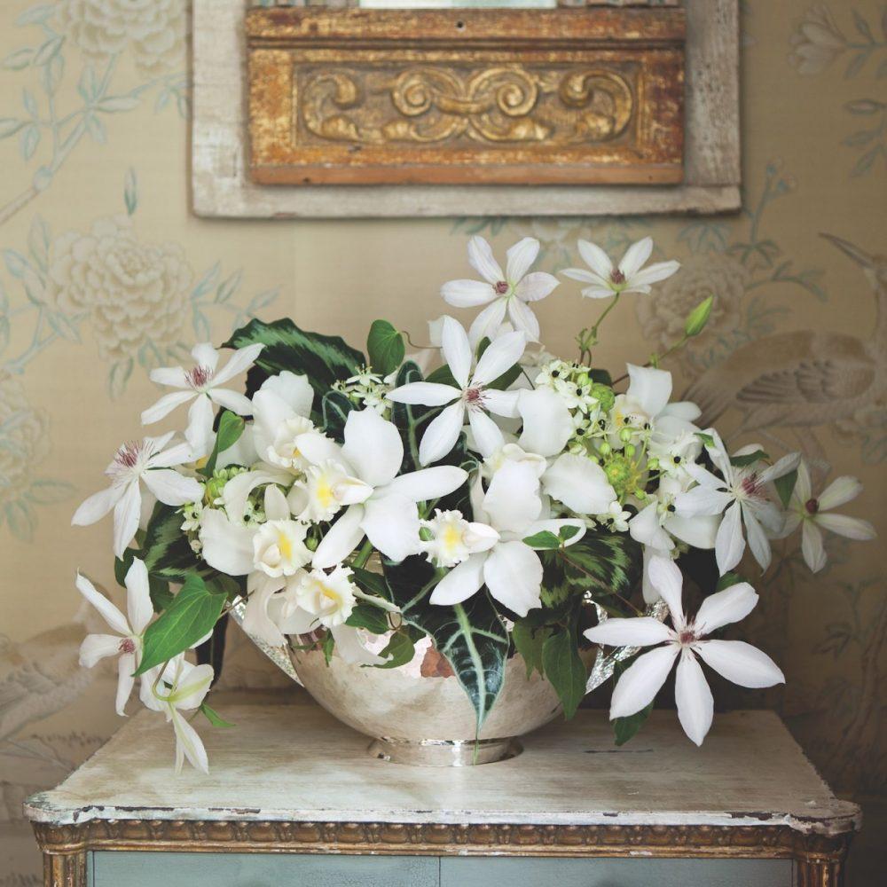 Michal Evans white flower arrangement
