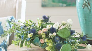 myrtie blue flowers, beach florists