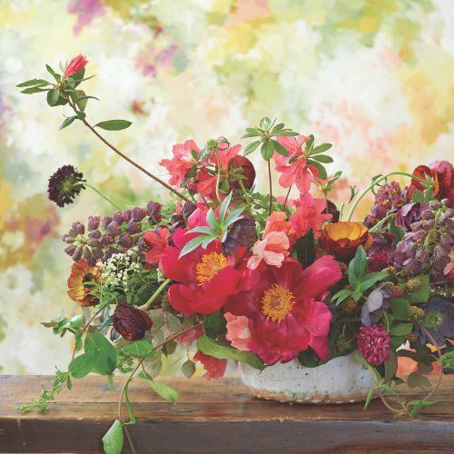 Sierra Steifman arrangement with peonies, ranunculus, hellebores, azaleas, scabiosa, sweet peas, spirea, fritillarias, honeysuckle vine, eucalyptus, blackberries, , featured on Flower magazine's Instagram 7/14/2019.