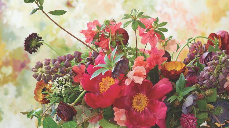 Sierra Steifman arrangement with peonies, ranunculus, hellebores, azaleas, scabiosa, sweet peas, spirea, fritillarias, honeysuckle vine, eucalyptus, blackberries