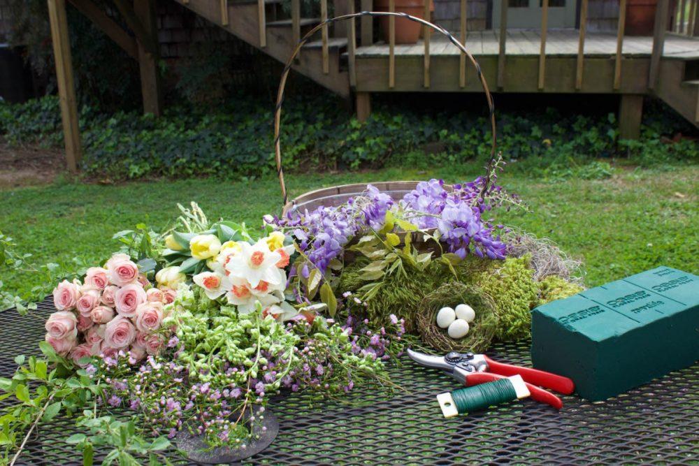 spring flower basket materials, easter flower arrangement