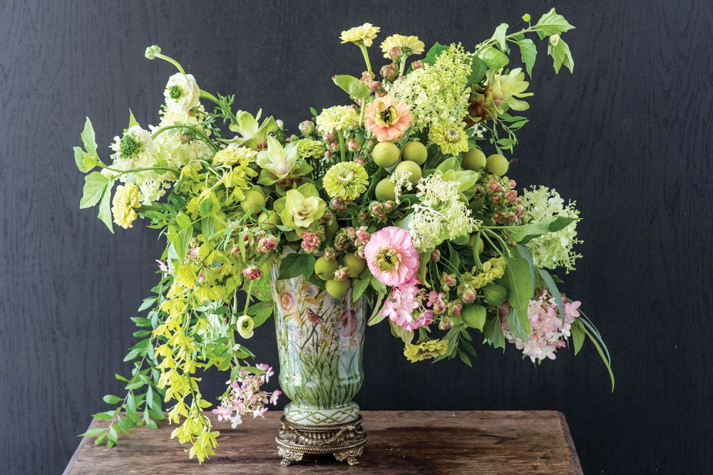 old-world style arrangement, geen and pink arrangement