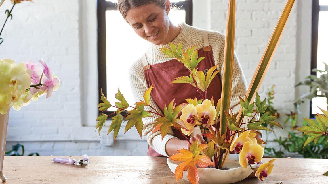ikebana style flower arrangement