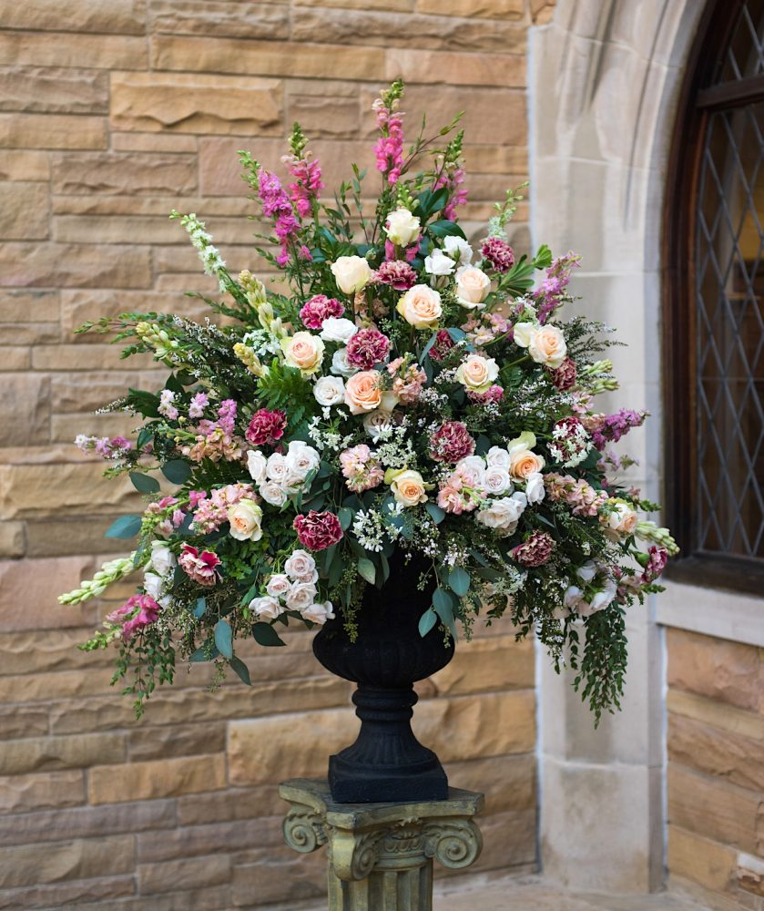 grand classic triangle church flower arrangement