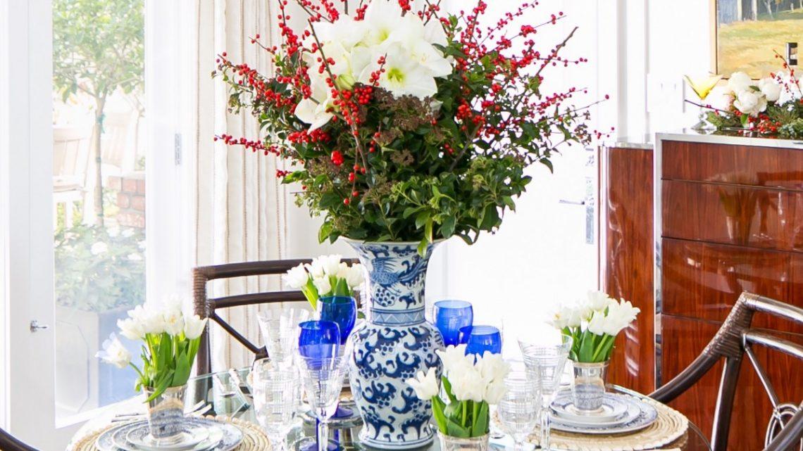 entertaining essentials, amaryllis arrangement
