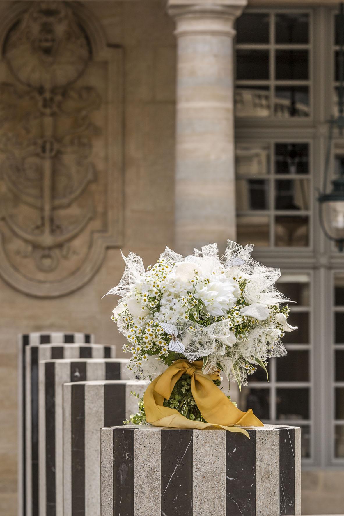 Laura Dowling bouquet at Colonnes de Buren, Paris
