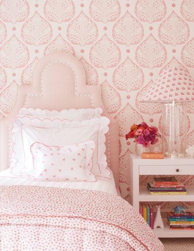 Ashley Whittaker, pink bedroom, , featured on Flower magazine's Instagram 7/20/2019.