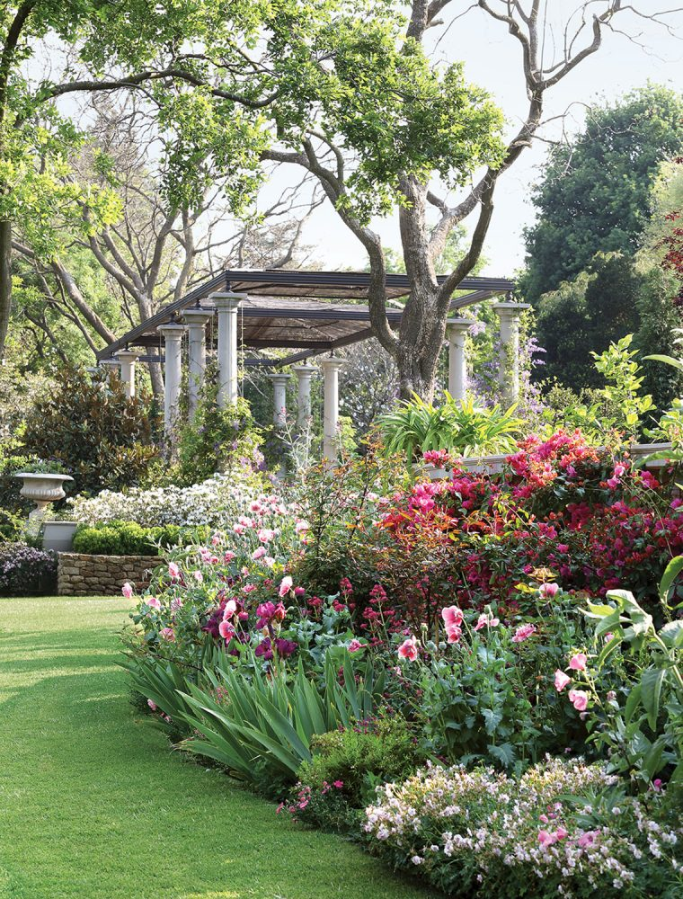 Various pink flowers in foreground and trees and a pergola in the background