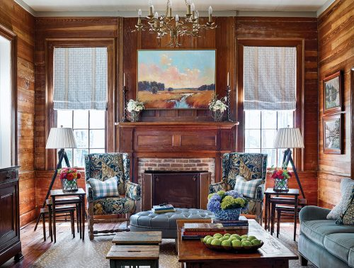 Photo of the family room designed by James Farmer at the McCurdy Plantation