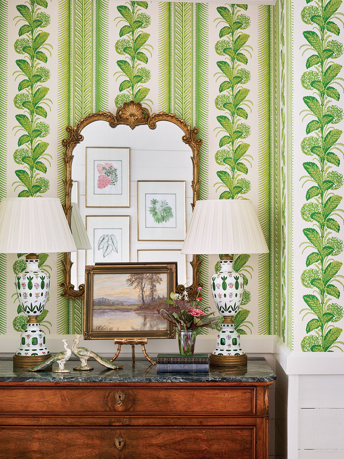 Photo of the green and white climbing hydrangea chosen by designer James Farmer in the restored McCurdy Plantation in Oak Bowery, Alabama