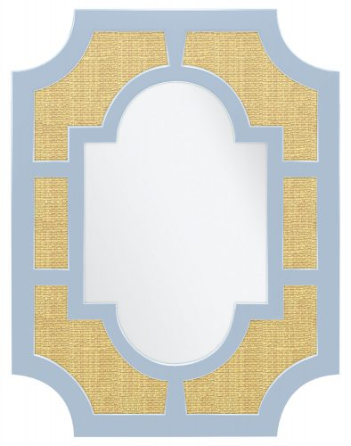 Mirror frame featuring a hydrangea blue edging and sisal insets