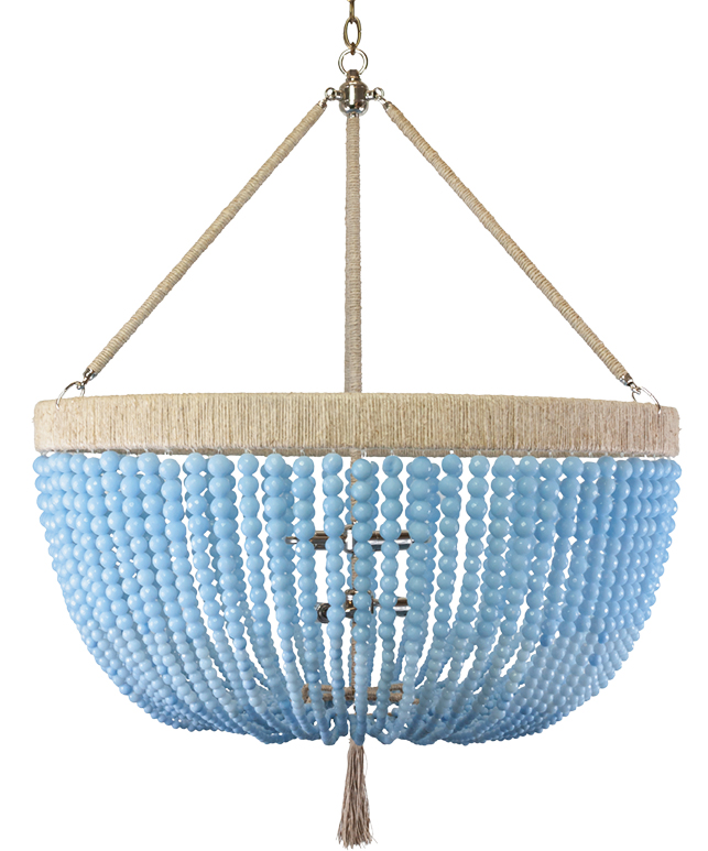 Round chandelier featuring strings of blue beads that create a bowl shape and soft gold accents