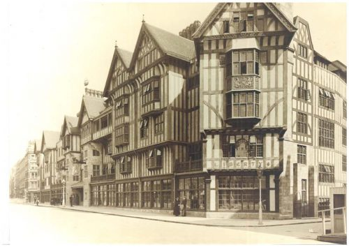 antique photo of Liberty storefront on a London street corner