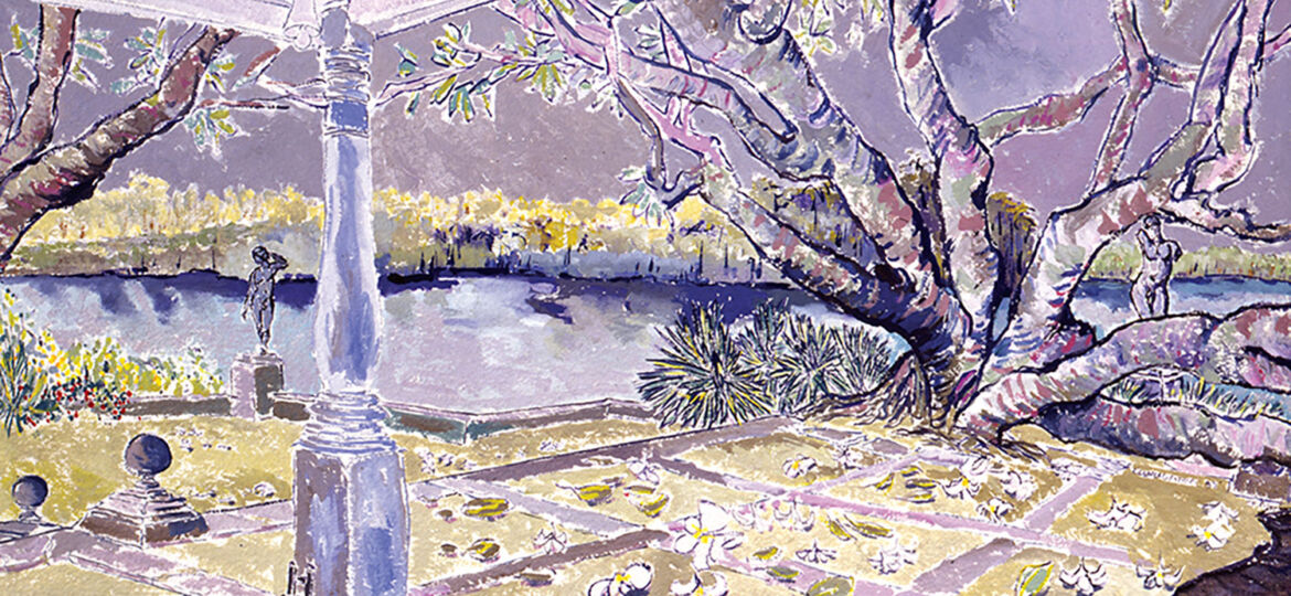 """""""Lunuganga, Bentota, Sri Lanka,"""" 1992, gouache on paper, 21 x 27 inches, private collection. From """"Into the Garden"""" by Christian Peltenburg-Brechneff, copyright © 2019, published by G Arts www.glitteratieditions.com"""