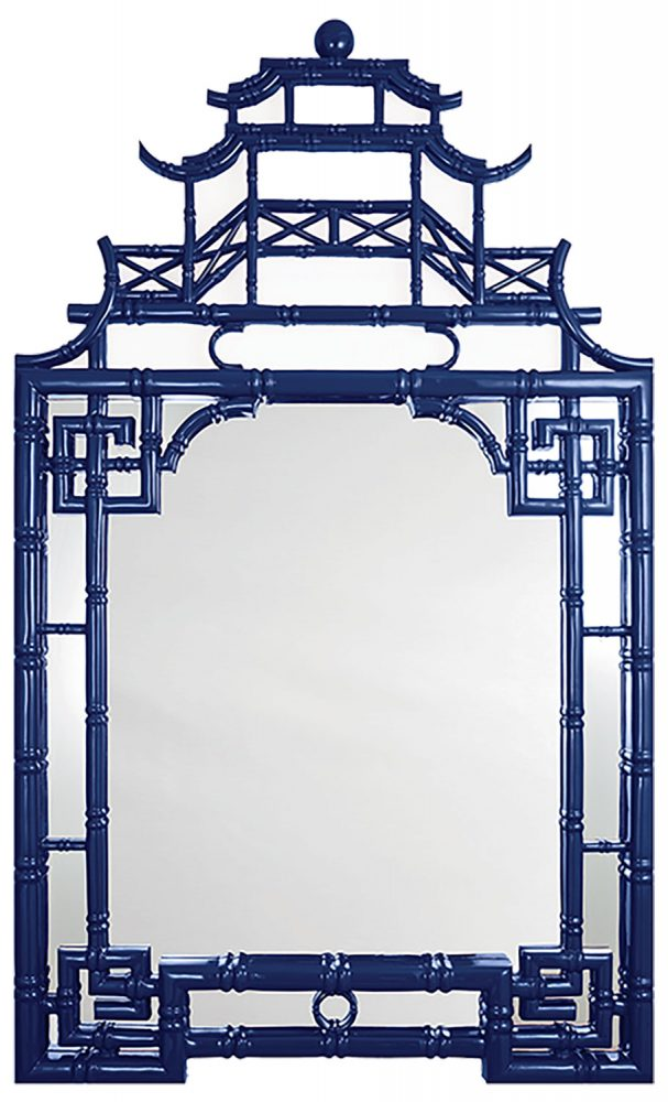 Mirror with dark blue, pagoda-shaped frame