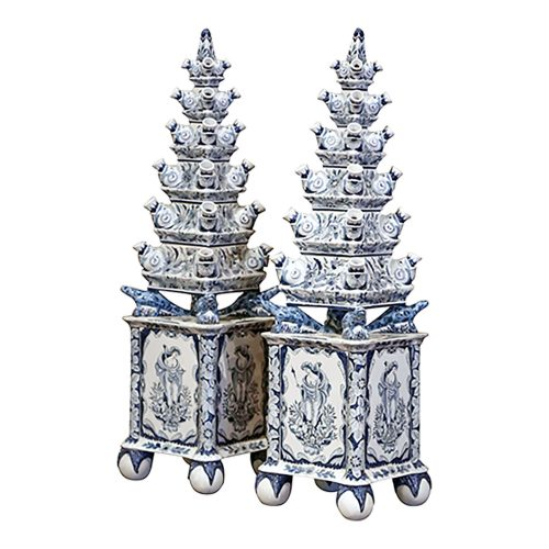 Two tall, blue-and-white pagoda-shaped tulipières