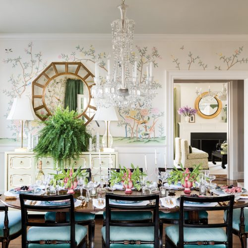 Dining room in a Larchmont, New York, Colonial home designed by CeCe Barfield Thompson, featured on Flower magazine's Instagram 7/24/2019.