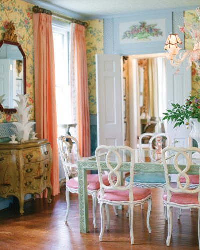 Although there is no seated dinner at this gathering, the dining room's confection of color draws guests in like candy.
