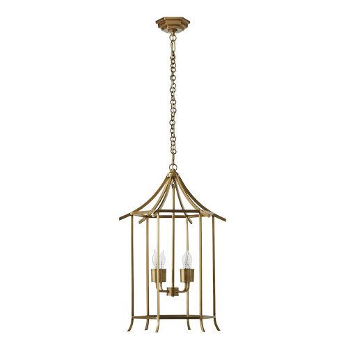 Hanging pendant light fixture featuring a pagoda-like cage, with the three small bulbs at the center