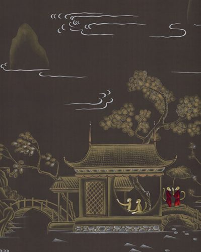 Pagoda motif fabric with a black background and a scene in muted colors with pops of red, showing houses, arched bridges, water, monkeys and trees
