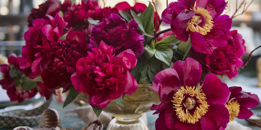 event design lecture, table setting with peonies and shells